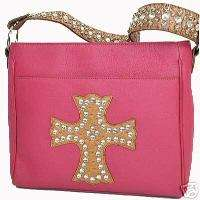 WESTERN RHINESTONE CROSS HANDBAG PURSE AND WALLET SET