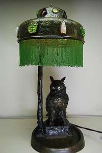 ANTIQUE OLD FIGURAL AUSTRIAN BRONZE ART NOUVEAU OWL GLASS JEWELED