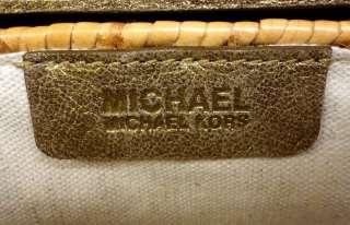 NWT AUTHENTIC MICHAEL KORS SANTORINI SMALL CLUTCH RATTAN   MSRP $178