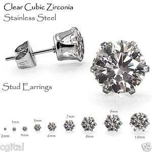 Clear Stud Earrings, Brilliant Round Cut CZ Stainless Steel   Sizes