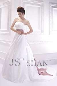 Empire Sash Satin Strapless A line Bridal Gown Wedding Dress,Custom