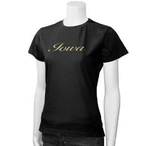 Iowa Hawkeyes Black Slim Fit Baby Doll T shirt Sports