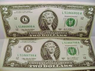 Bills  2003A $2 Dollar Bill Consecutive serial Number USD Money Mint