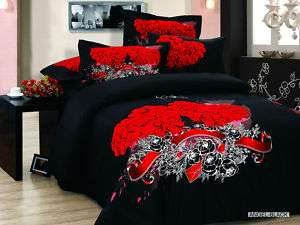 Angel Black Full Queen Bed Duvet Comforter Bedding Set