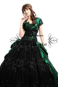 Green Designer Ball Wedding Bridal Gown Quinceanera Evening Prom