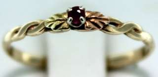 Ruby Ring with Black Hills Gold Green Rose Yellow 10k Band Ring NORES