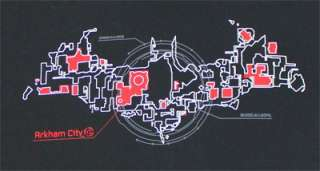 Map In Logo   Batman Arkham City Sheer T shirt