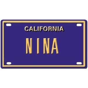 Nina Mini Personalized California License Plate