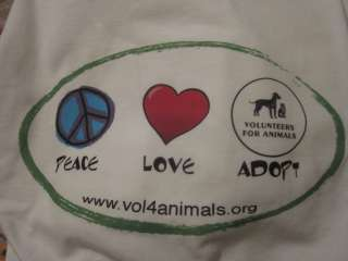 Peace Love Adopt Quality T Shirt 100% Cotton Cats Dogs for Charity