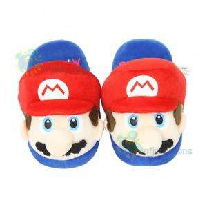 Super Mario Bros Anime Kids Plush Slipper Slippers Red