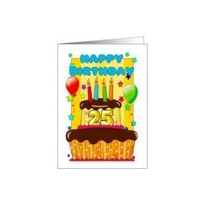 birthday cake with candles   happy 25th birthday Card