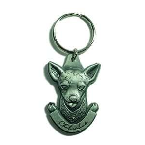Pewter Chihuahua Key Chain Ring Made in the USA Pet Supplies