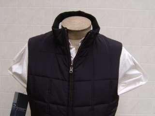 Mens 80% Wool Reversible Zip Vest M Tailored Coat Jacket Black Quilted
