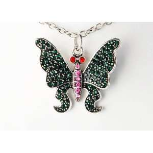 Cute Green Emerald Pink Red Eye Crystal Rhinestone Butterfly Pendant