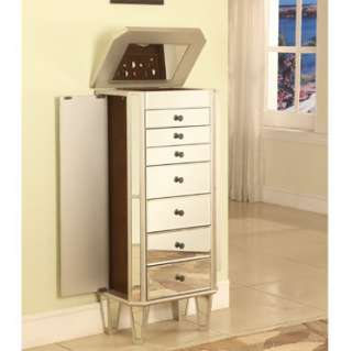 Mirrored Jewelry Armoire With Silver Wood Powell #233