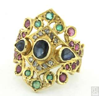 18K GOLD 3.05CTW DIAMOND/EMERALD/RUBY/SAPPHIRE CLUSTER COCKTAIL RING
