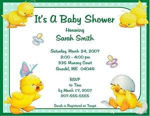 BABY SHOWER Invitations Yellow Ducks ADORABLE