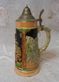 Vintage German Lidded Beer Stein Mug Hand Painted