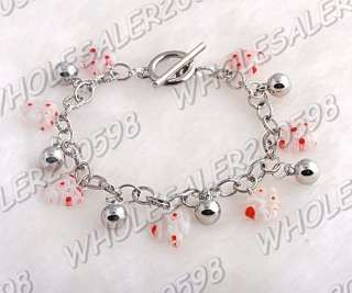 WHOLESALE 12strands Handwork Heart Glass Bead Bracelets