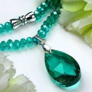 Green Crystal Glass Lady Necklace Dangle Faceted Teardrop Bead Pendant
