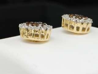 14K MEN LADIES YELLOW GOLD 1CT CHOCOLATE BROWN DIAMOND FLOWER SET