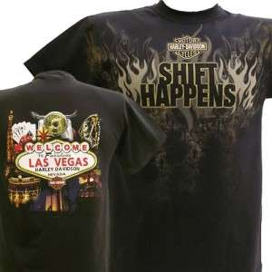Harley Davidson Las Vegas Dealer Tee T Shirt Shift Happens BLACK