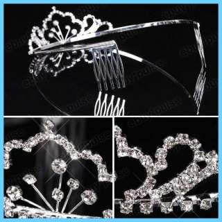 Wedding Bridal Prom Crystal Rhinestone Crown Comb Tiara Headband NEW