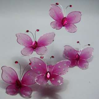 50pcs Hot Pink Stocking Butterfly Wedding Decorations 5cm