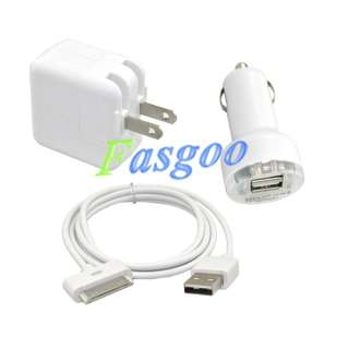 Charger Adapter+USB Cable+Car Charger For iPod iPad 1/2 iPhone 3G/S 4G