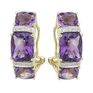 14K Yellow Gold Cushion Cut Amethyst & Round Diamond