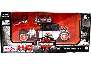 Maisto 1929 FORD MODEL A HARLEY DAVIDSON BLACK / WHITE 1/24 DIECAST