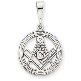 14k White Gold Masonic Charm pendant 2.2 grams 17mm NEW