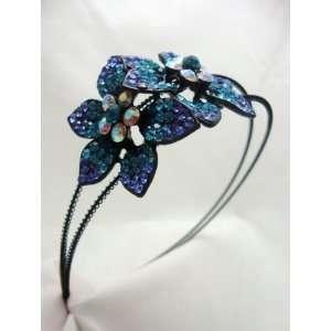 Large Blue Flower Crystal Headband