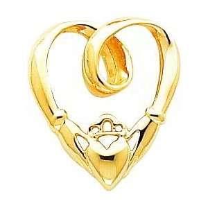 14K Gold Claddagh Heart Slide Pendant Jewelry