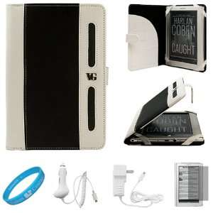 Black with White Portfolio Jacket Leather Case for Sony