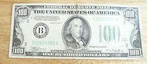 BENJAMIN FRANKLIN 100 DOLLAR BILL FEDERAL NOTE US CURRENCY SMALL NOTES