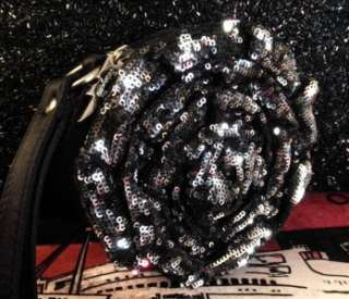 NWT RARE Betsey Johnson BLACK SILVER SEQUIN ROSE Wristlet Tote EVENING