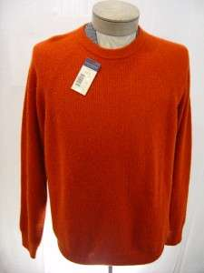 Daniel Cremieux 3 Ply 100% Cashmere Cable Sweater Mens XL Orange Crew