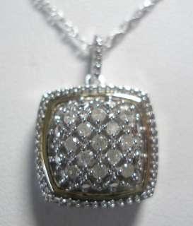 14KT & STERLING SILVER GENUINE DIAMOND PENDANT NECKLACE