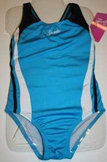 Girls Blue White Black One Piece Swimsuit Size 7 NWT