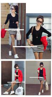 Fashion Style Sexy Office Lady Long Sleeve Striped Slim Dress Casual