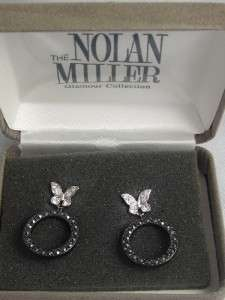 NOLAN MILLER GLAMOUR COLLECTION BLACK & WHITE BUTTERFLY DANGLE PIERCED