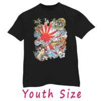 Japanese geisha koi fish kids youth tattoo art T shirt