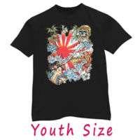 Japanese geisha koi fish kids youth tattoo art T shirt