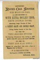 Dowaglac MI Round Oak Stove Bears Tradecard