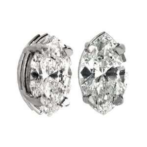 1ct.Marquise diamond earrings. All 14Kt white gold earrings set