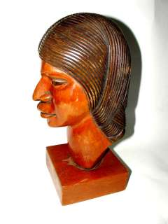 Woman indian hand carved wooden sculpture Art Deco ?