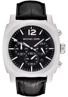 MICHAEL KORS BLACK LEATHER CHRONOGRAPH MEM WATCH MK8118 NEW