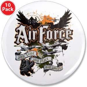 3.5 Button (10 Pack) Air Force US Grunge Any Time Any