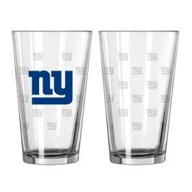 New York Giants Team Logo Satin Etch Pint Glass Set